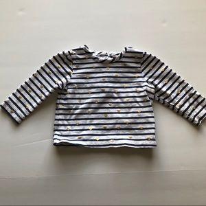 Little Me Striped Long Sleeve w/ Gold Heart Detail